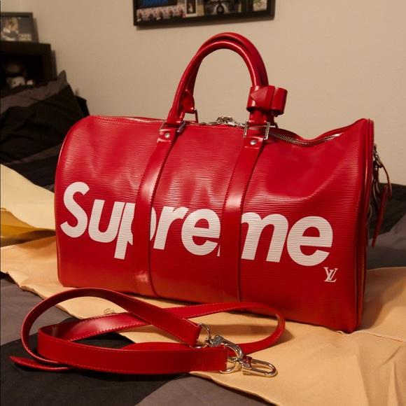 94b8b321e40d Louis Vuitton Supreme Red Leather Bag